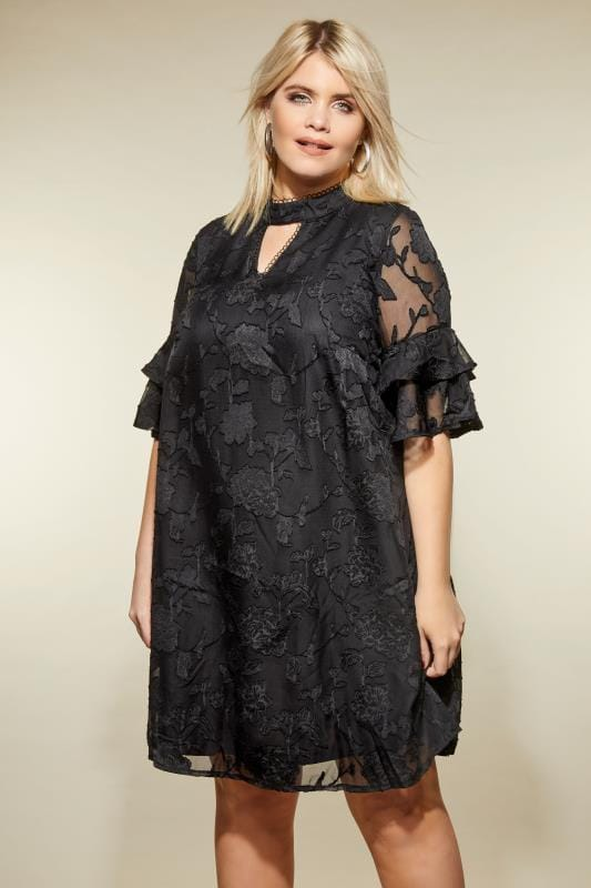 Plus Size Midi Dresses LOVEDROBE Black Rose Devore Dress