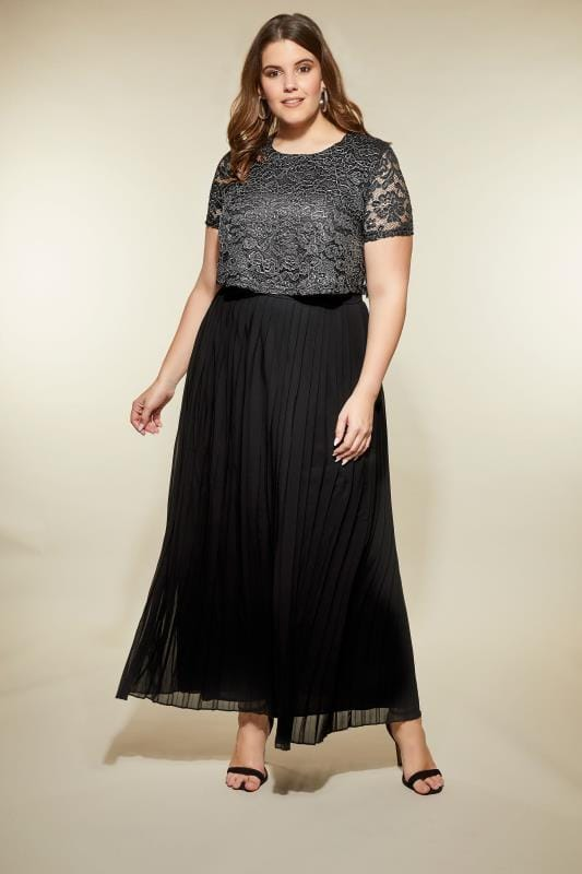 Plus Size Black Dresses LOVEDROBE Black & Silver Lace Overlay Maxi Dress