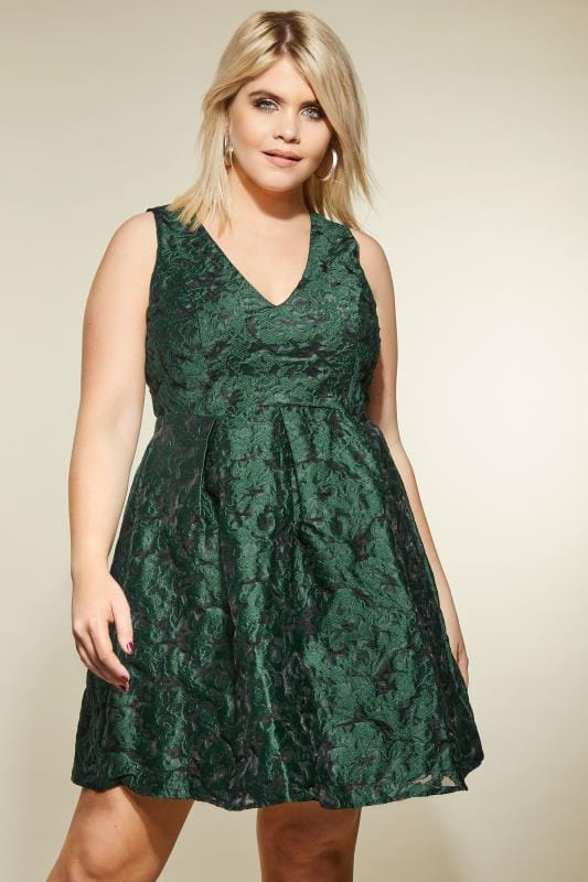 Plus Size Party Dresses LOVEDROBE Green Jacquard Skater Dress