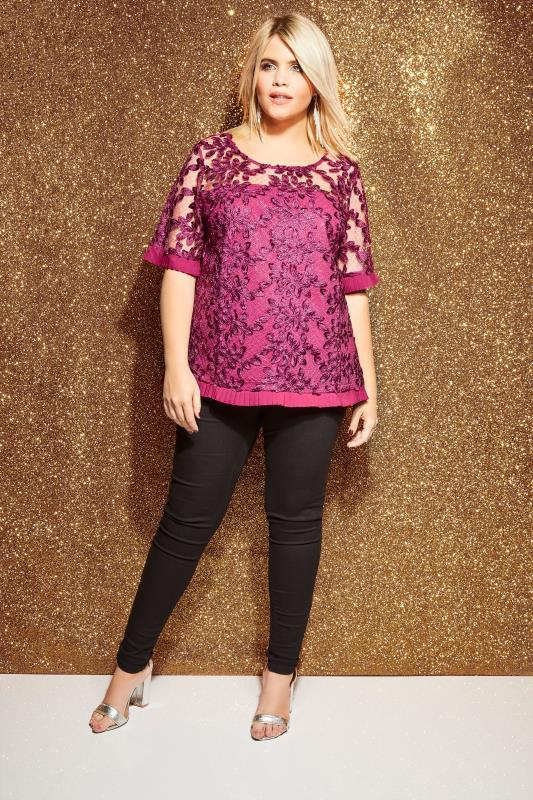 LOVEDROBE Magenta Lace Top