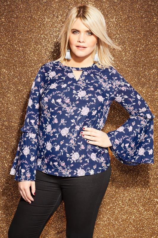 Plus Size Blouses LOVEDROBE Navy Floral Blouse