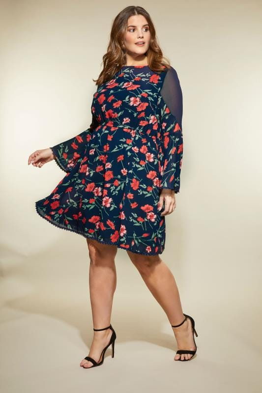 Plus Size Sleeved Dresses LOVEDROBE Navy Floral Dress