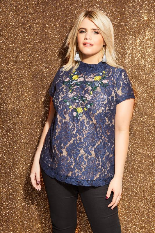 8f409ec296f4 LOVEDROBE Navy Floral Embroidered Lace Top, Plus size 16 to 32