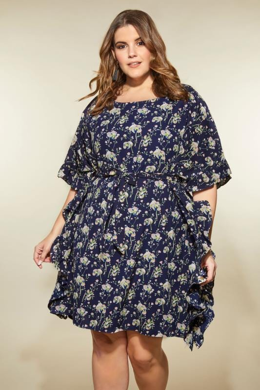 Plus Size Party Dresses LOVEDROBE Navy Floral Kimono Dress