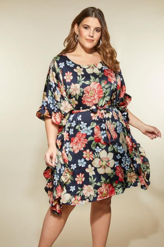 Plus Size Midi Dresses LOVEDROBE Navy Floral Kimono Dress