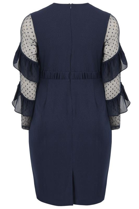 LOVEDROBE Navy Ruffle Mesh Dress