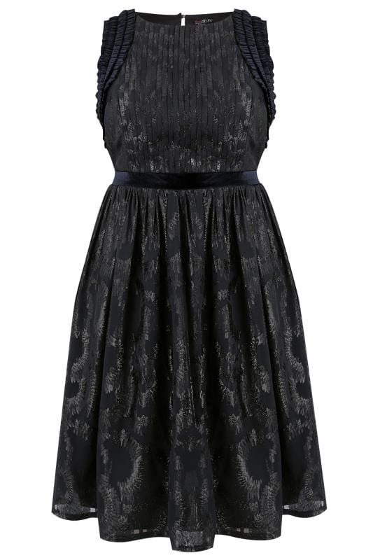 Plus Size Evening Dresses LOVEDROBE Navy & Black Ruffle Skater Dress
