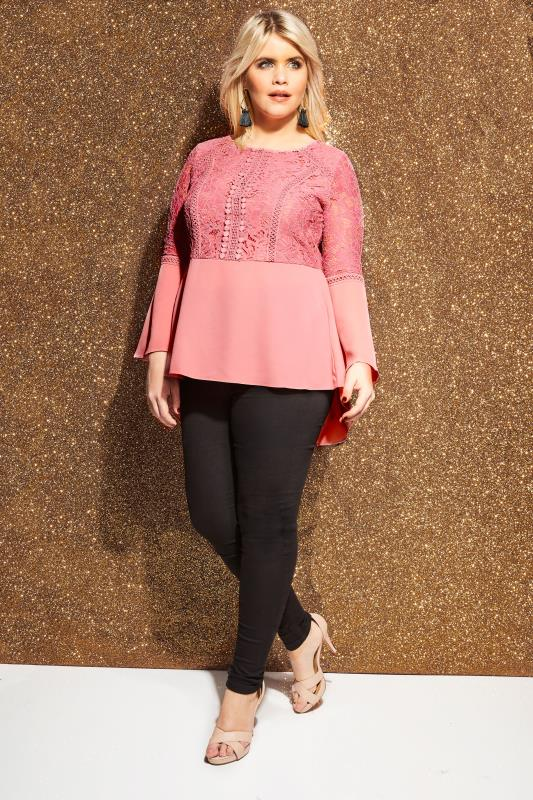 LOVEDROBE Pink Chiffon & Lace Top