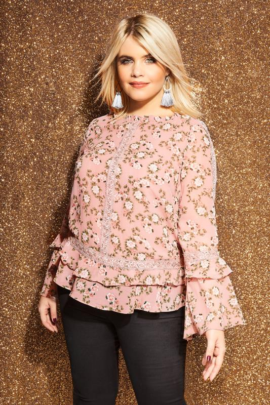 Plus Size Blouses LOVEDROBE Pink Floral Ruffle Top