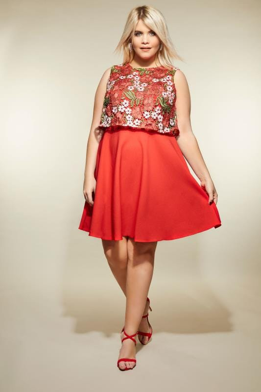 Plus Size Skater Dresses LOVEDROBE Red Floral Crochet Overlay Dress