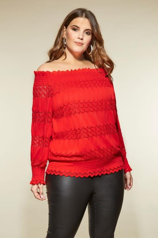 LOVEDROBE Red Gypsy Bardot Top