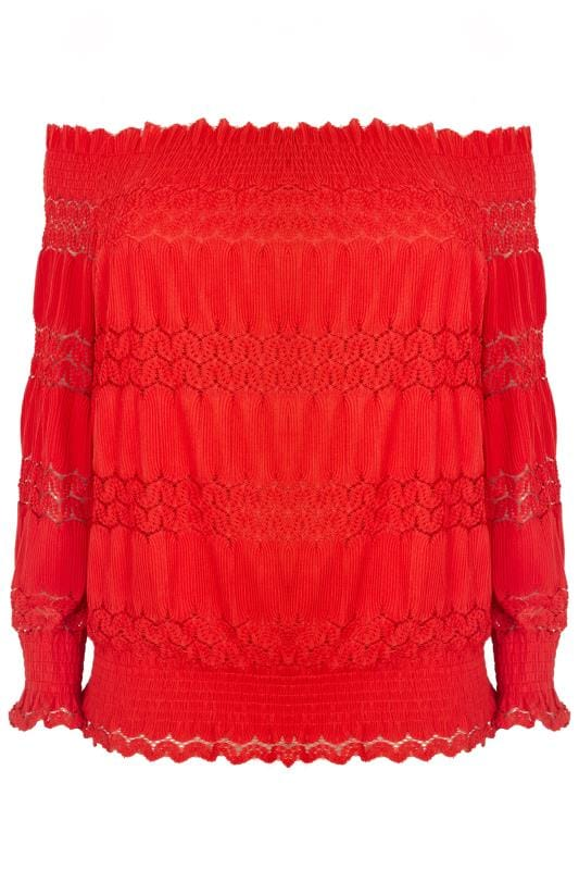 Plus Size Party Tops LOVEDROBE Red Gypsy Bardot Top