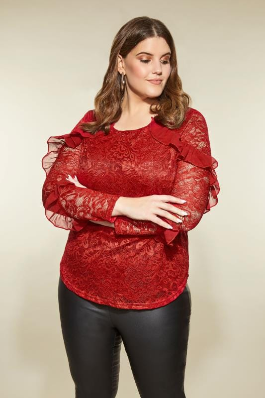 Plus Size Blouses LOVEDROBE Red Lace Ruffle Top