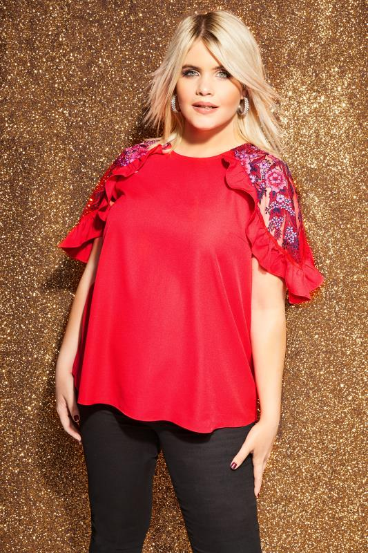 Plus Size Blouses LOVEDROBE Red Mesh Sleeve Top