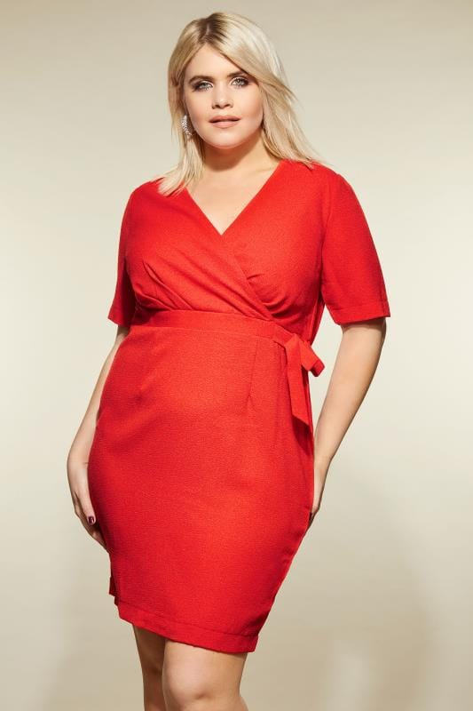 Plus Size Midi Dresses LOVEDROBE Red Wrap Pencil Dress