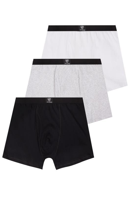 Boxers & Briefs LOYALTY & FAITH 3 PACK Grey, Black & White Logo Detail Boxers 170543