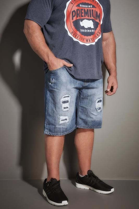 LOYALTY & FAITH Blue Stonewash Ripped Denim Shorts