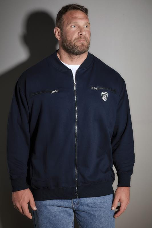 LOYALTY & FAITH Navy Zip Through Sweatshirt With Logo Badge