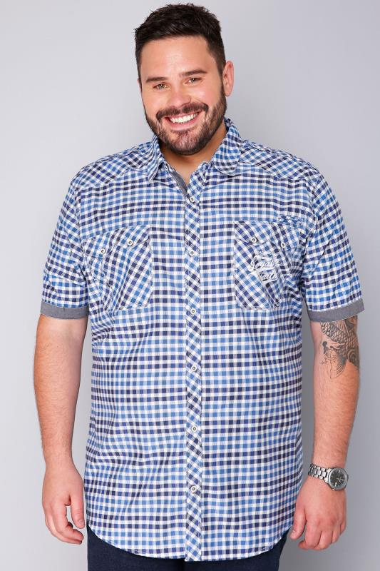 LOYALTY & FAITH White, Navy & Blue Short Sleeve Checked Shirt
