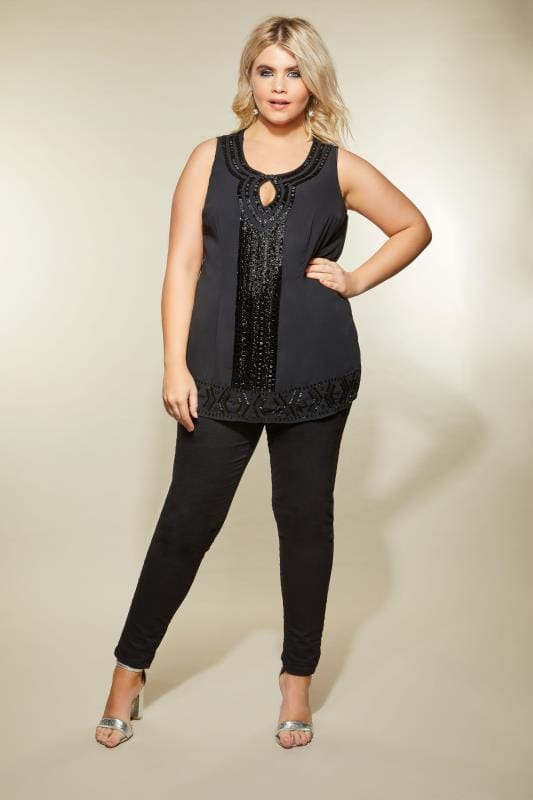 LUXE Black Bead Embellished Top