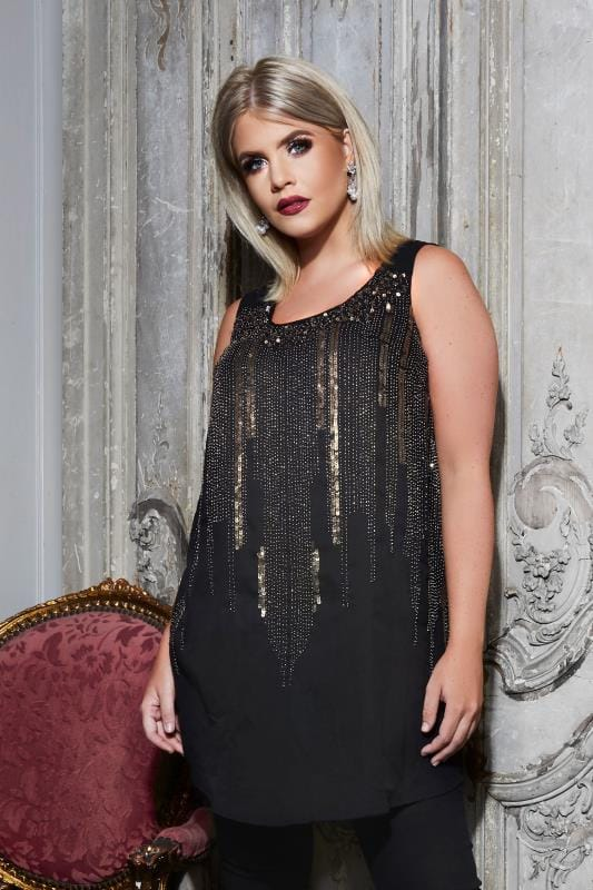 LUXE Black Chiffon Sleeveless Top With Sequin & Bead Embellishment