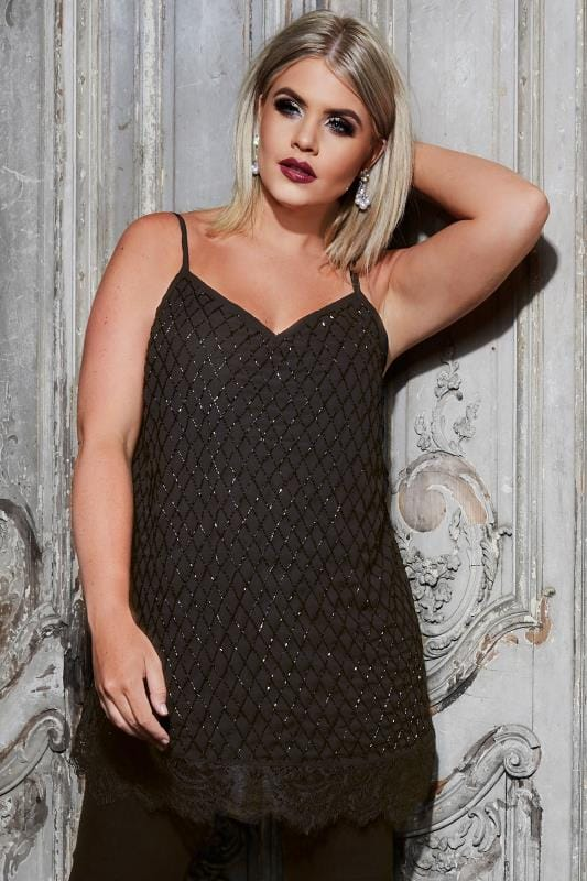 Plus Size Vests & Camis LUXE Black Embellished Cami Top With Lace Hem