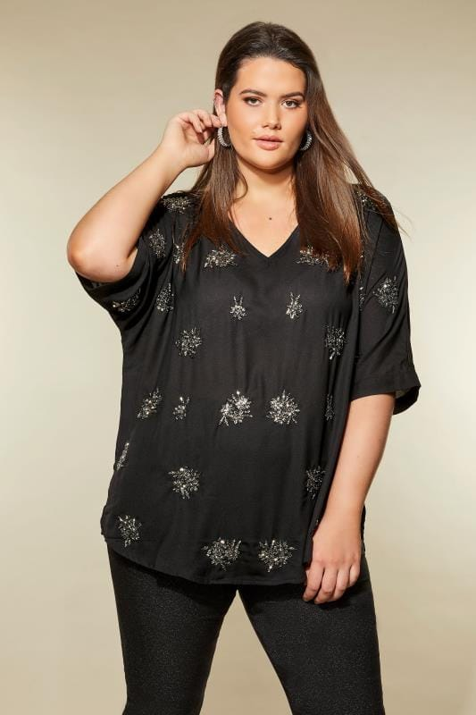 Plus Size Party Tops LUXE Black Embellished Cape Top