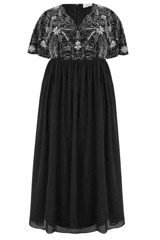 Plus Size Black Dresses LUXE Black Embellished Maxi Dress