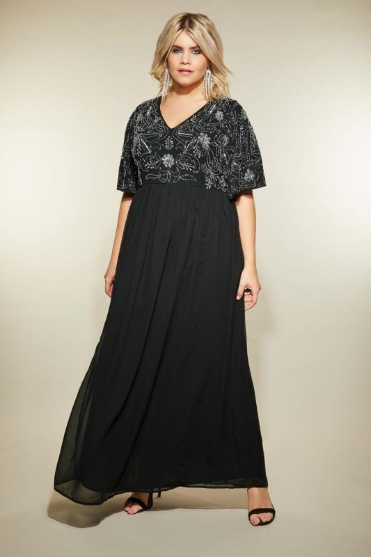 LUXE Black Embellished Maxi Dress