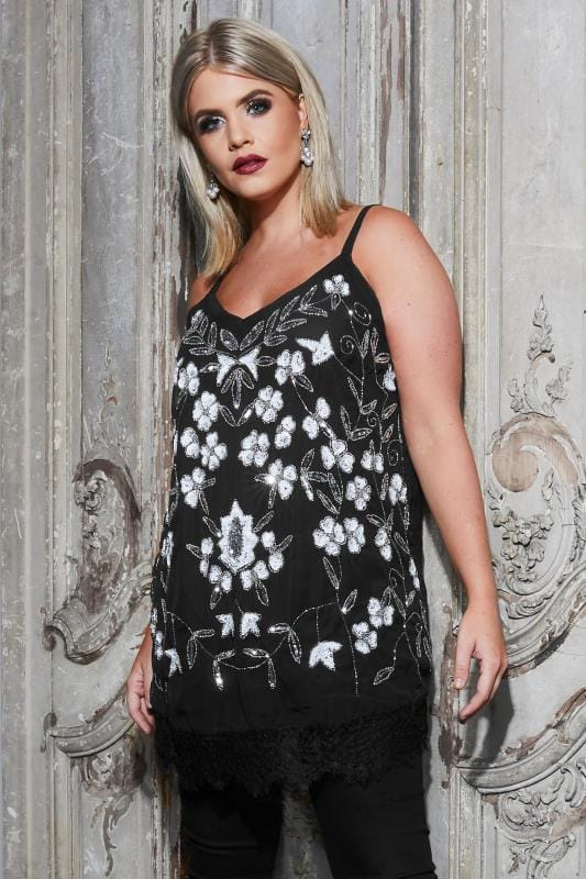 Plus Size Evening & Party Tops LUXE Black Floral Embellished Top With Lace Hem