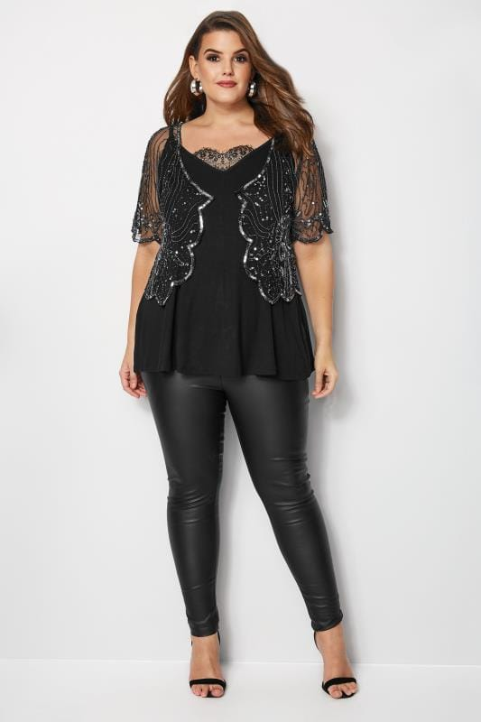 LUXE Black Floral Sequin Embellished Shrug