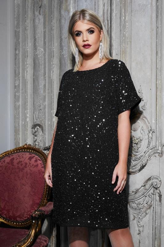 Plus Size Evening Dresses LUXE Black Sequin Embellished Fully Lined Cold Shoulder Cape Dress