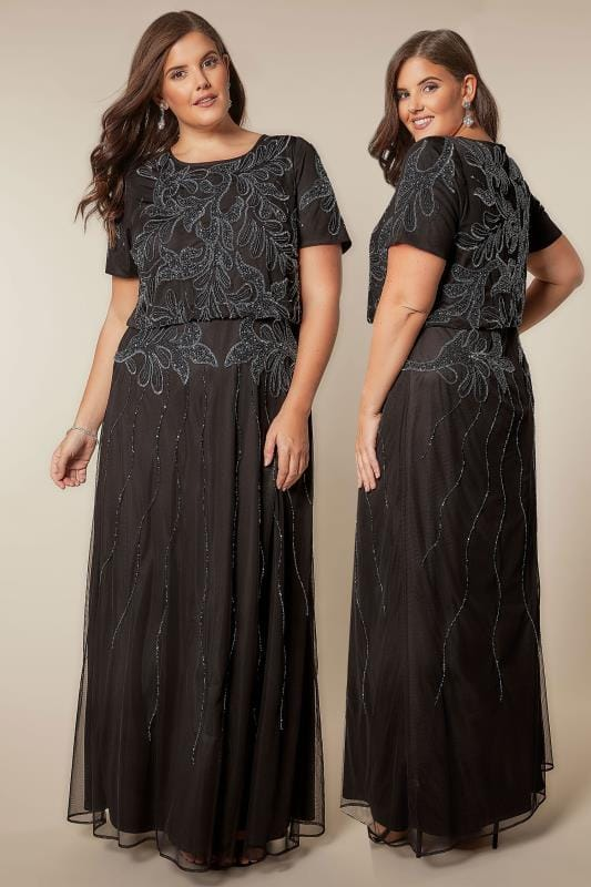 LUXE Black Sequin Embellished Fully Lined Maxi Dress With Ruched Waist