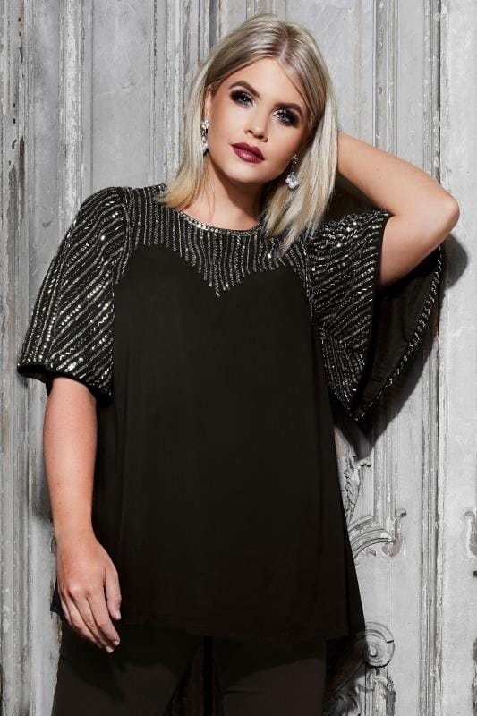 Plus Size Party Tops LUXE Black Sequin Embellished Top With Kimono Sleeves