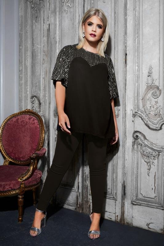LUXE Black Sequin Embellished Top With Kimono Sleeves