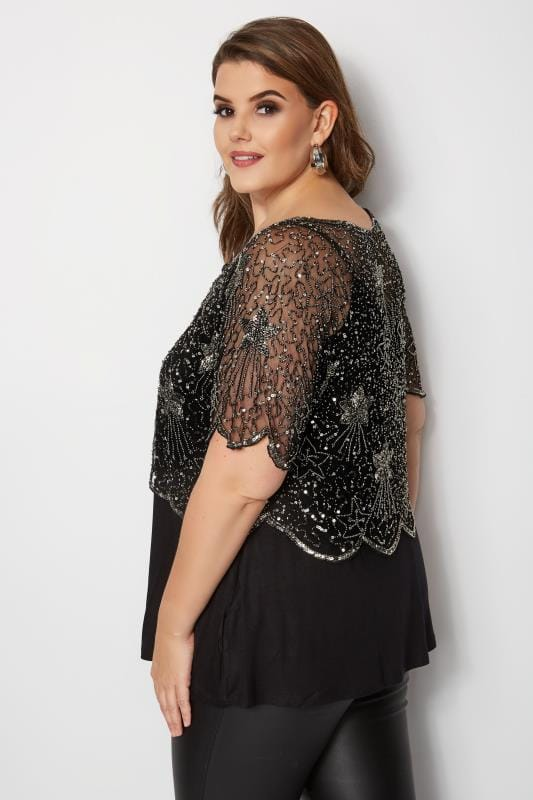 LUXE Black Star Embellished Shrug