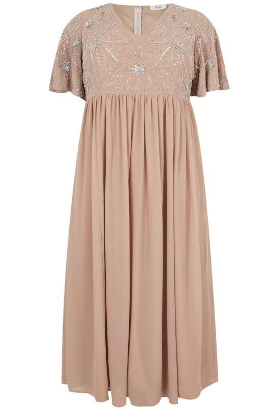 LUXE Blush Pink Embellished Chiffon Maxi Dress With Angel Sleeves