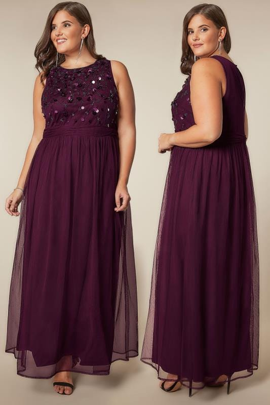 Plus Size Evening Dresses LUXE Dark Purple Bead & Sequin Embellished Maxi Dress