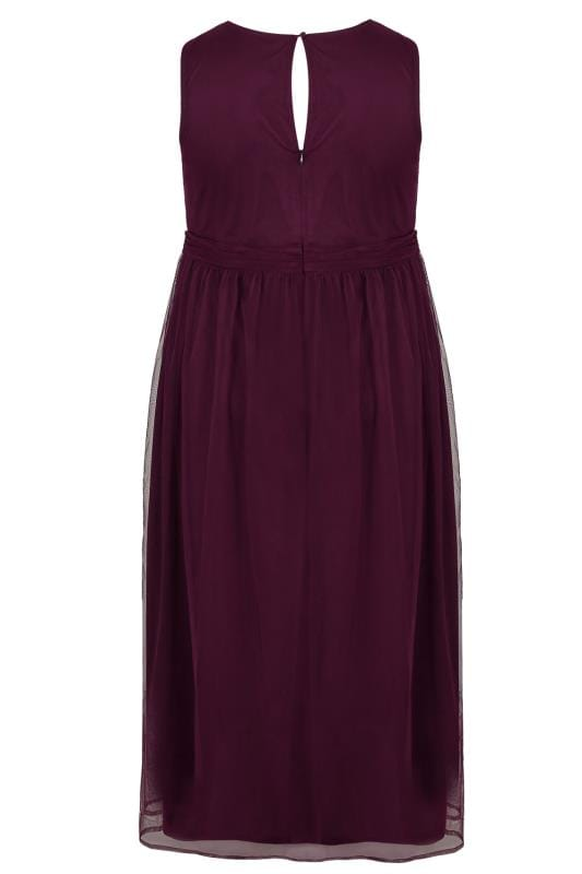 LUXE Dark Purple Bead & Sequin Embellished Maxi Dress