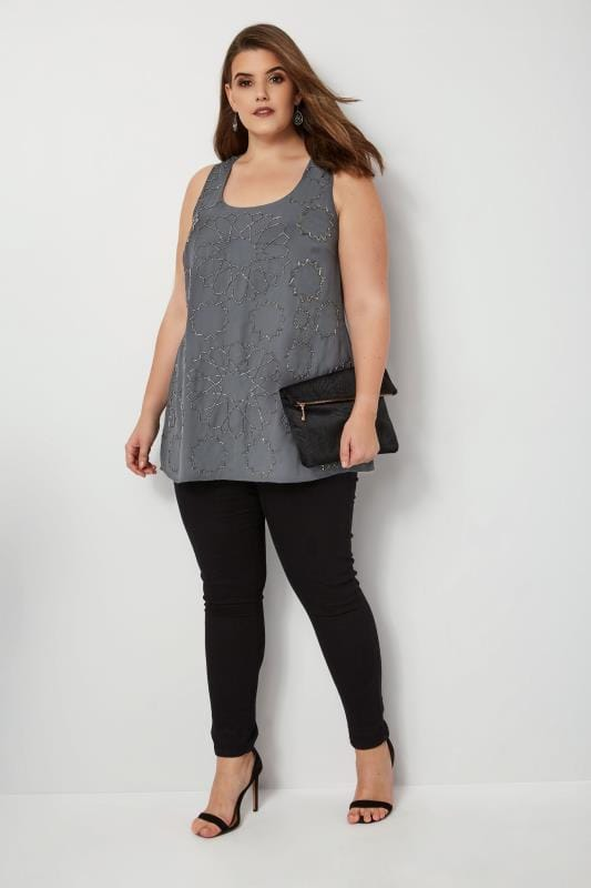 LUXE Grey Hexagon Bead Embellished Top