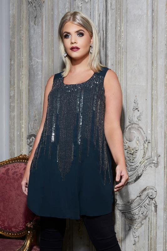 Plus Size Party Tops LUXE Navy Chiffon Sleeveless Top With Sequin & Bead Embellishment