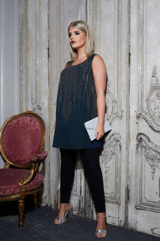 LUXE Navy Chiffon Sleeveless Top With Sequin & Bead Embellishment