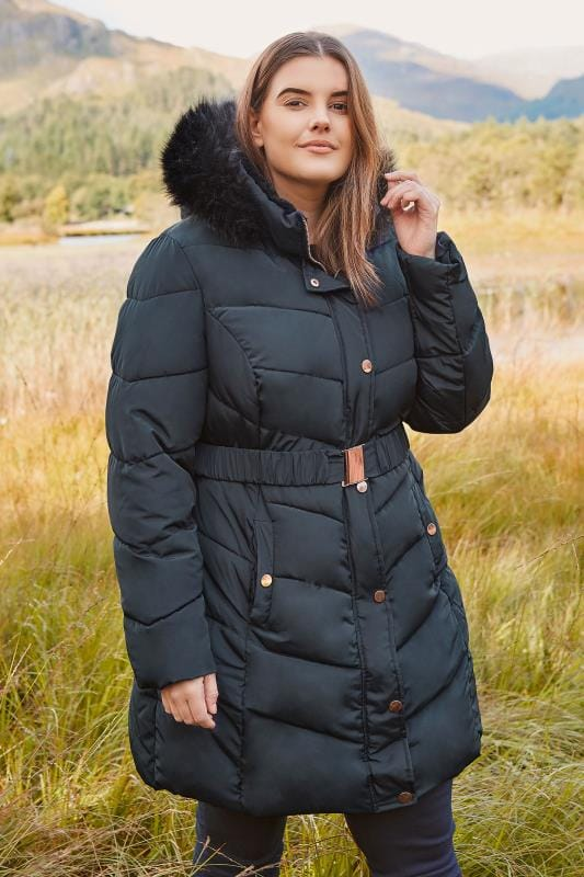 Plus Size Coats Navy Longline Puffa Coat