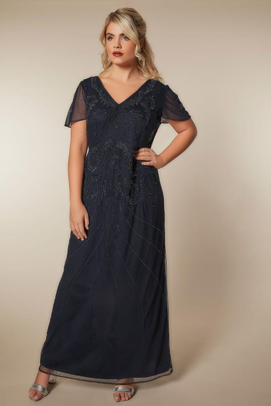 Plus Size Evening Dresses LUXE Navy Sequin Embellished Fully Lined Maxi Dress With V-Neckline