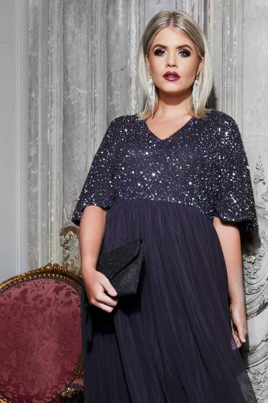 LUXE Navy Sequin Embellished Maxi Dress With Mesh Skirt