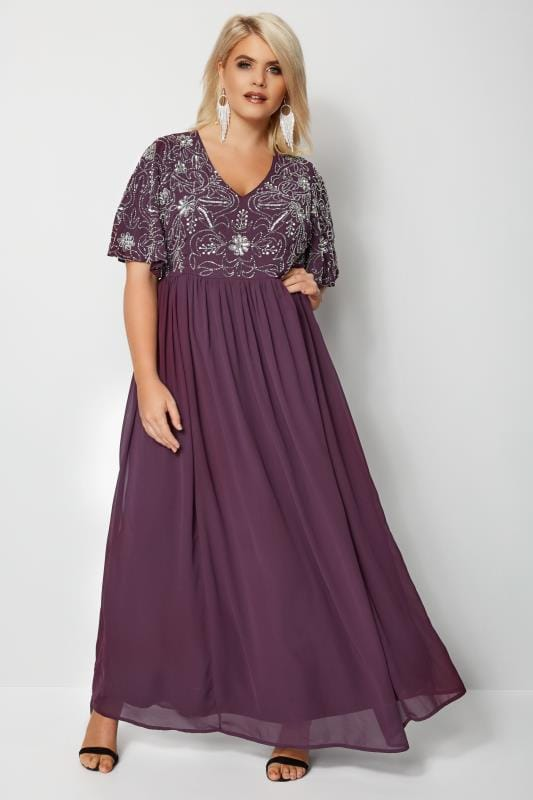 LUXE Purple Embellished Maxi Dress