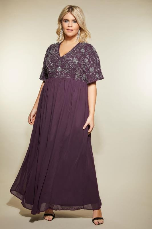 675a96122546 LUXE Purple Embellished Maxi Dress, Plus size 16 to 32