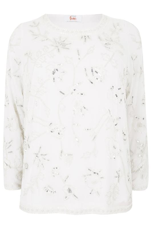 LUXE White Bead & Sequin Embellished Top