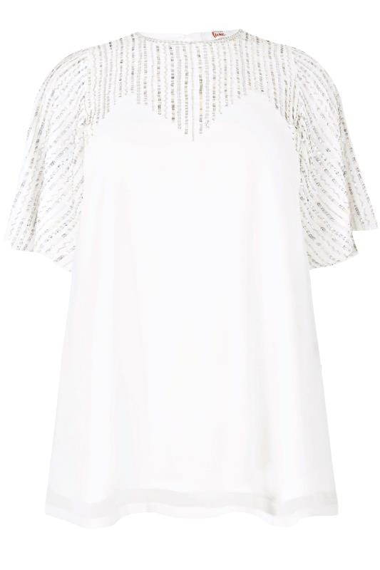 LUXE White Sequin Embellished Top, plus size 16 to 32