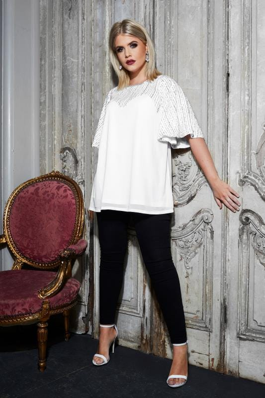 LUXE White Sequin Embellished Top With Kimono Sleeves